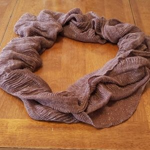 Large Brown and gold infinity scarf